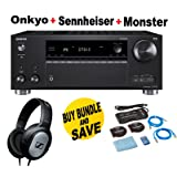 Onkyo Rz Series Audio & Video Component Receiver Black (TX-RZ720) + Monster Home Theater Accessory Bundle + SENNHEISER HD206 Bundle