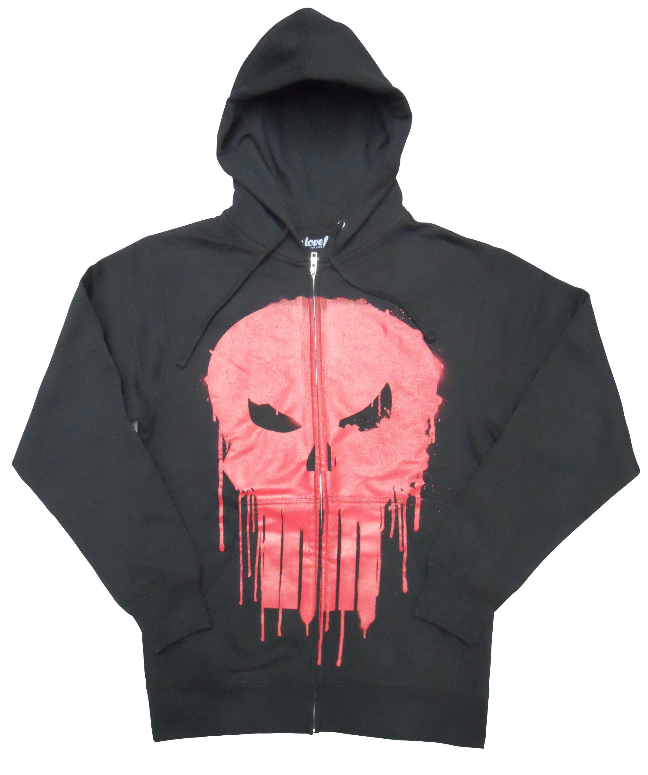 Marvel Punisher Dripped Red Skull Mens Black Zip Up Hoodie Sweatshirt