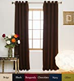 Chocolate Nickel Grommet Top Energy Saving Thermal Insulated Blackout Curtain 96 Inch Length Pair