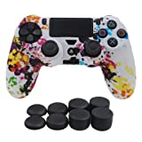 YoRHa Water Transfer Printing Camouflage Silicone Cover Skin Case for Sony PS4/slim/Pro controller x 1(graffiti) With Pro thumb grips x 8 (Color: graffiti, Tamaño: water print)