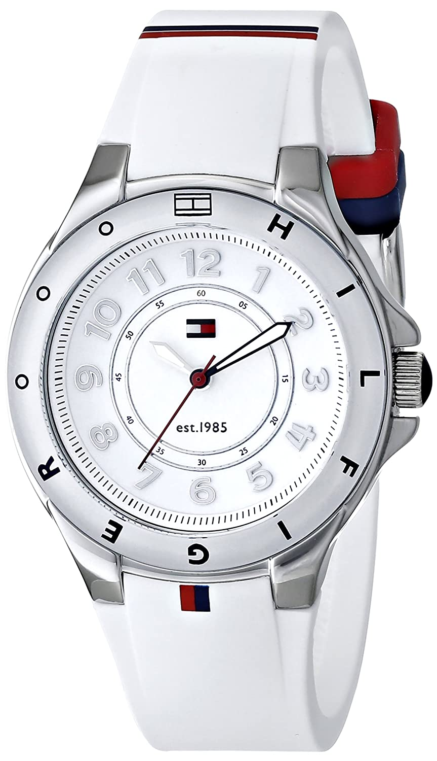 Amazon Global Store!! Women`s Fashion On Watches In Global Store By Amazon | Tommy Hilfiger Women's 1781271 Stainless Steel Watch with White Silicone Band@ Rs.6,857.15