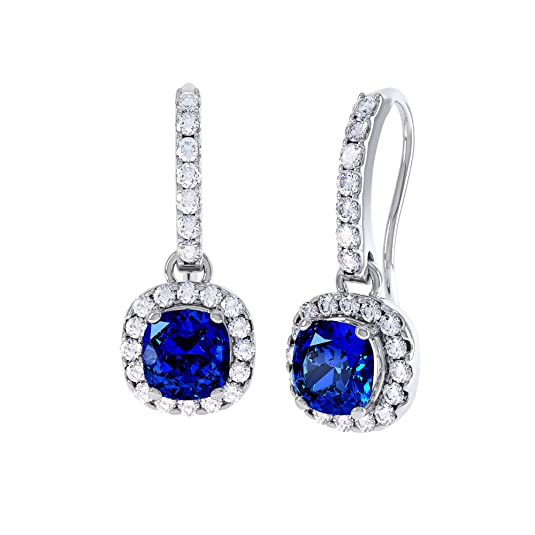 Princess 2ct Sapphire and Diamond Halo Silver Pave Drop Earrings (WHITE GOLD)