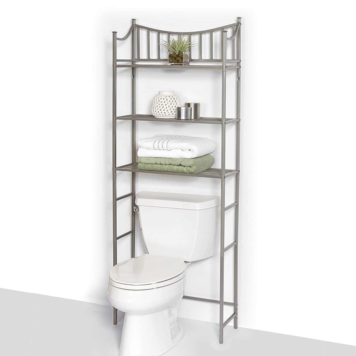 Zenna home 9065nn bathroom spacesaver satin nickel new for Chapter bathroom space saver white assembly instructions