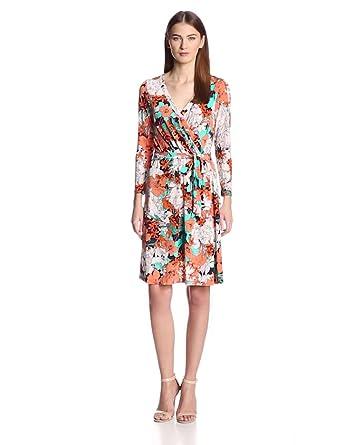 Anne Klein Women's Floral Print Wrap Dress, Vermillion Multi, Medium