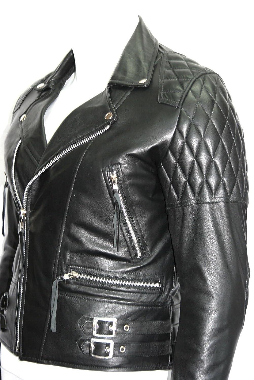 Geschwindigkeit Mann Brando Stil Lamm Haut mit gepolsterten Boxen Schulter und Arm Echtlederjackenin allen Größen online kaufen