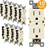 ENERLITES Duplex Receptacle Outlet, Tamper-Resistant, Residential Grade, 3-Wire, Self-Grounding, 2-Pole,15A 125V, UL Listed, 61580-TR-LA-10PCS, Light Almond (10 Pack) (Color: Light Almond 10 Pack)