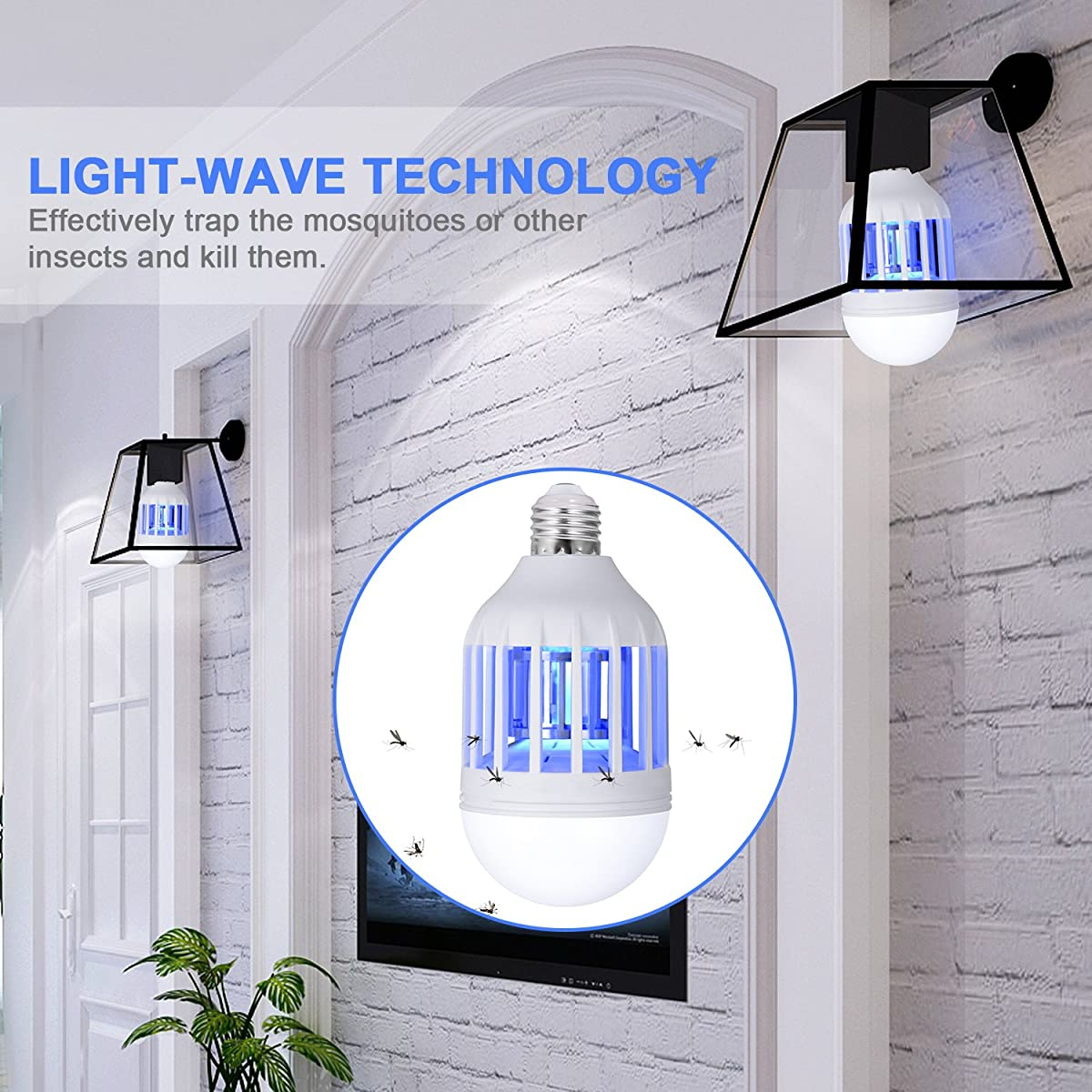 Boomile Bug Zapper Light Bulb, Electronic Insect Killer, Mosquito Zapper Lamp, Fly Killer, Built in Insect Trap, 110V E26/E27 Light Bulb Socket Base for Home Indoor Outdoor Garden Patio Backyard