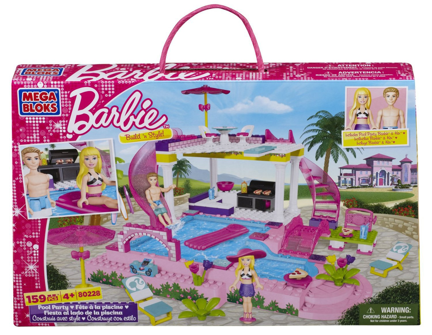 Mega Bloks 80228 – Barbie – Build 'n Splash Pool Party günstig kaufen
