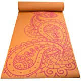 Fit Spirit Premium Printed Yoga Mat Orange Paisley 6mm