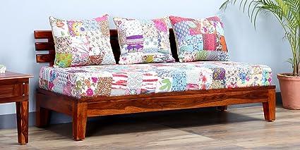 Patch di lavoro in legno Dekor divano a 3posti in cotone, miele, 182x 68x 75cms