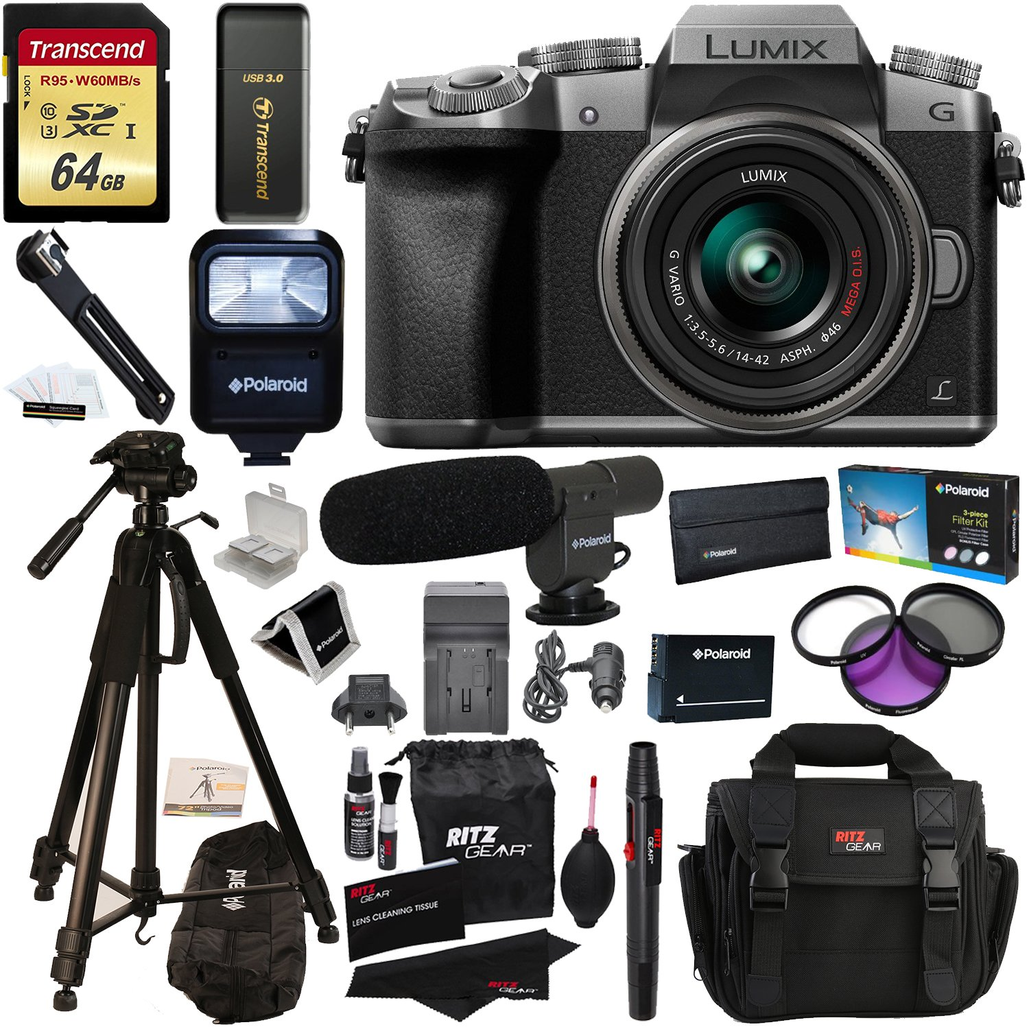 "Panasonic DMC-G7KS Digital Single Lens Mirrorless Camera 14-42 mm Lens Kit, 4K + Accessory Bundle + Transcend 64 GB + Polaroid 72"" Tripod + Microphone + Polaroid Flash + Filter Set + Battery + More"