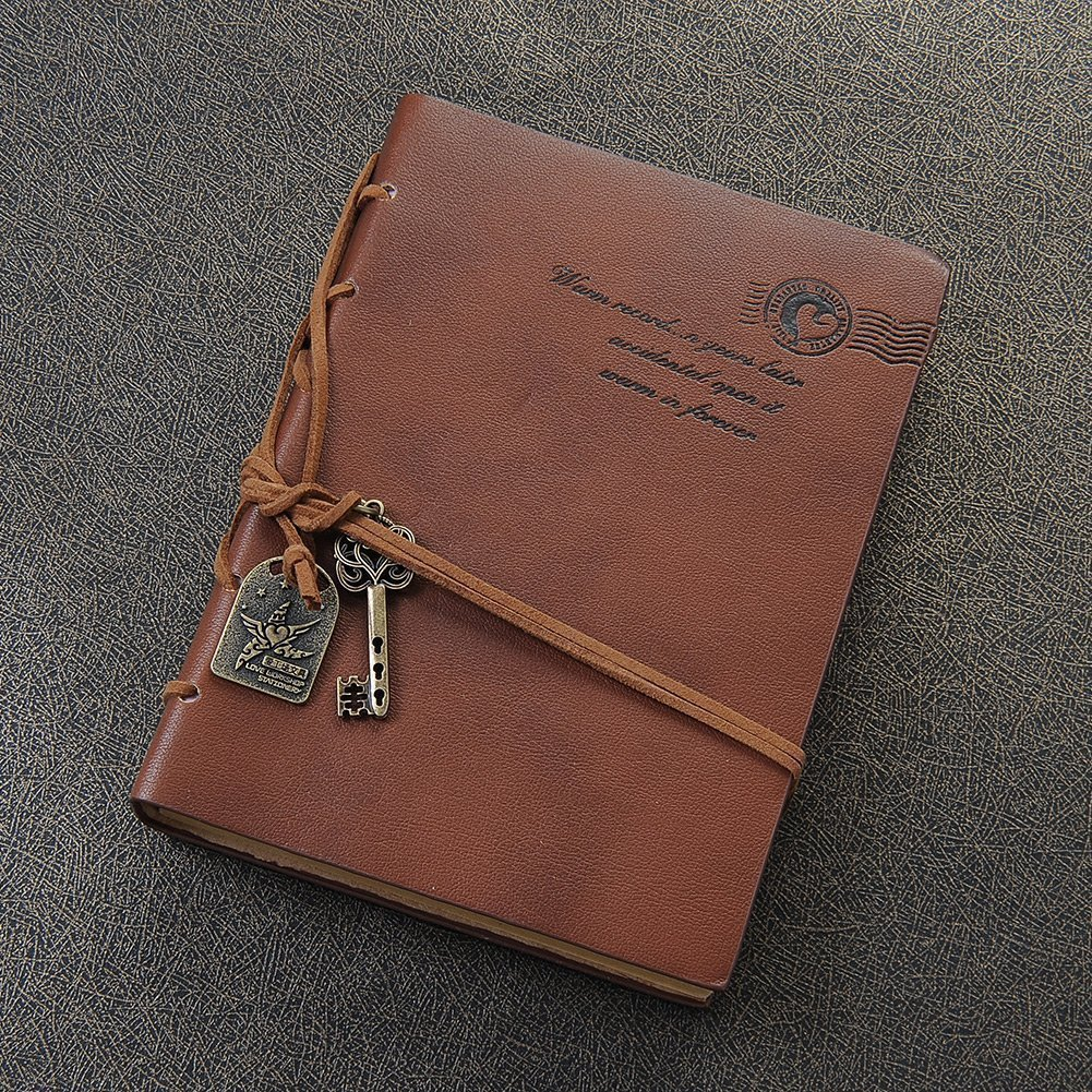 EvZ Diary String Key Leather Bound Notebook, Brown 3