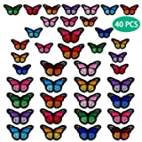 40pcs Butterfly Iron on Patches, 2 Size Embroidered Sew Applique Repair Patch (Tamaño: 40 PCS)