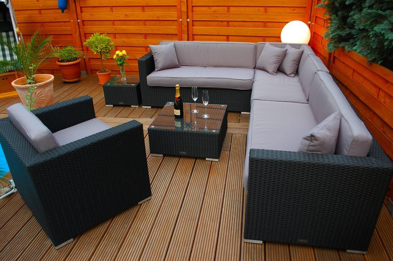 PolyRattan Lounge DEUTSCHE MARKE — EIGNENE PRODUKTION — 7 Jahre GARANTIE Garten Möbel incl. Glas und Polster Ragnarök-Möbeldesign (schwarz) Gartenmöbel günstig bestellen