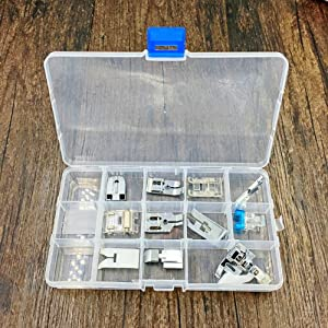 JZK 11 Pieces Sewing Machine Domestic Accessories Set with Storage Box, Presser Foot Replacement Part kit for Sewing Machine Singer Brother Janome Toyota Elna AEG