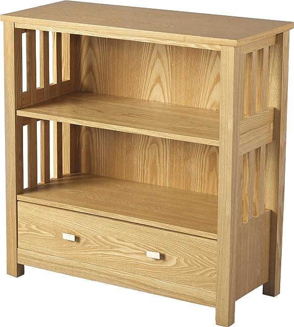 1cassetto Ashmore Libreria bassa placcato in legno di frassino naturale