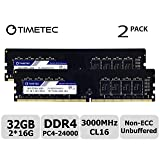 Timetec Extreme Performance Hynix IC 32GB KIT(2x16GB) DDR4 3000MHz PC4-24000 CL16 1.35V Unbuffered NonECC for Gaming and High-Performance Compatible with AMD and Intel Desktop Memory(32GB KIT(2x16GB)) (Tamaño: 32GB KIT(2x16GB))