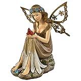 Moonrays 91351 Solar Powered Garden Fairy with Glowing Cardinal (Color: Multicolor)