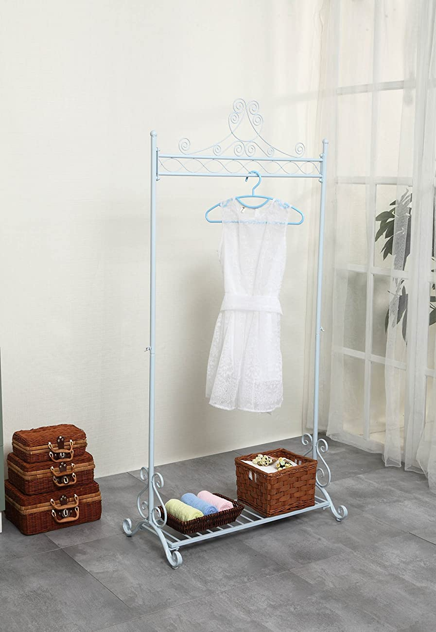 Chic and Sturdy Garment Rack - Clothing Racks with Bottom Shelf for Shoes – Metal Hanging Clothes Stand (White) 0