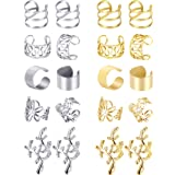 Blulu 10 Pairs Ear Cuff Set Stainless Steel Ear Piercing Ear Clips Non-piercing Earrings Cartilage Hoop Jewelry Accessory for Women and Girls Supplies (Color Set 1) (Color: Color Set 1)