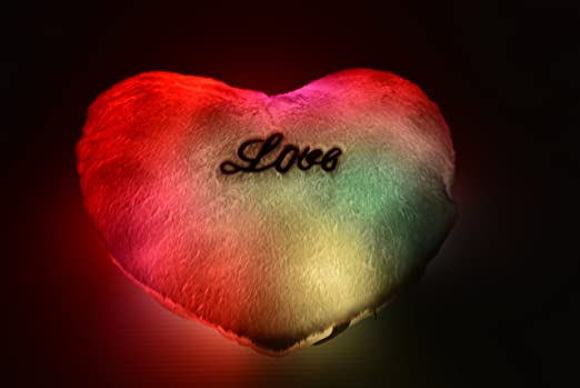 LED Light up Glow Heart Pillow - Cashmere & Cotton Blend - Safe LED Lights - Auto Color Rotation - Shaped Illuminated Pillow Cushion Plush Toy