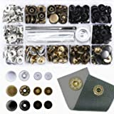 60 Set Snap Fasteners Kit for Leather/Clothing,3 Color(Gunmetal Black,Silver and Bronze) Snaps Button Press Studs with 4 Pieces Fixing Tools Caps Diameter 0.6 inch (Color: Brown, Tamaño: 15MM)