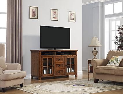 "Bell'O TC60-9740-O107 Dakota TV Stand for TVs up to 65"", Premium Oak"