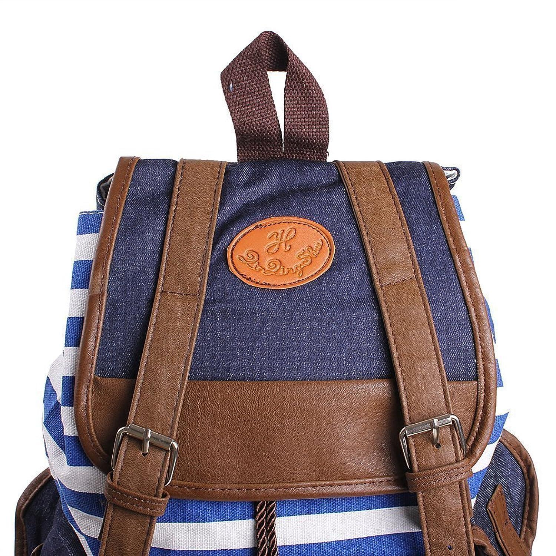 9cb6e72060f1 Rbenxia Unisex Canvas Backpack School Bag Super Cute Stripe School College  Laptop Bag for Teens Girls Boys Students - Blue