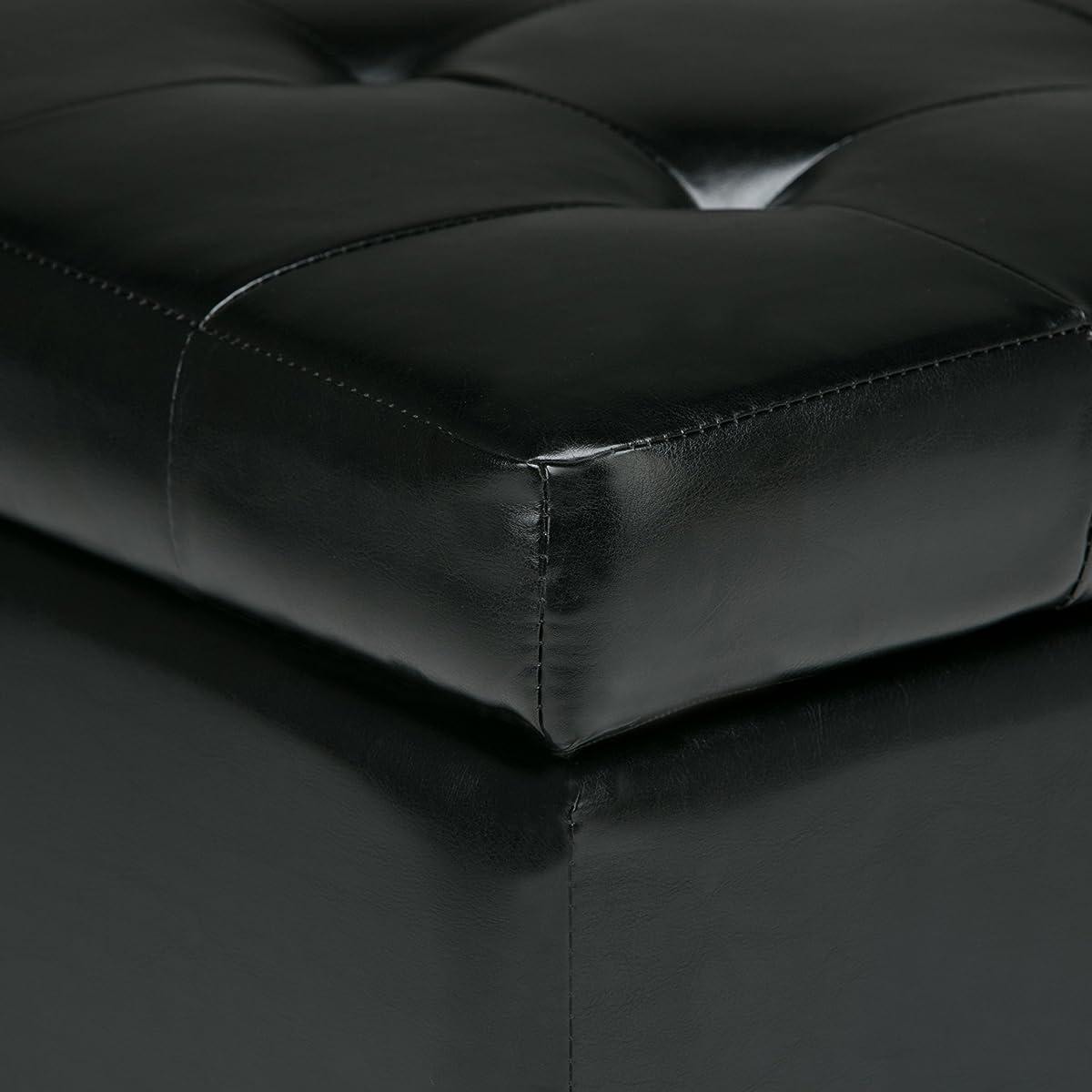 Simpli Home Cosmopolitan Faux Leather Rectangular Storage Ottoman Bench, Medium, Midnight Black