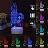 ClassicHomie FORNITE Video Game - LOOT Llama 3D Optical Illusion 7 Colors Table Desk LED Night Light Lamp,Game Room Ambient Light,Touch Control,USB Charger