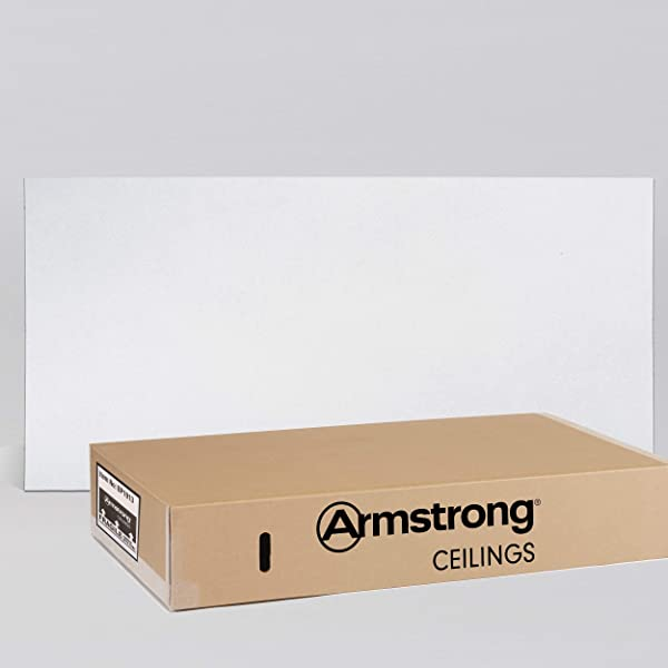 Armstrong Ceiling Tiles; 2x4 Ceiling Tiles - HUMIGUARD Plus Acoustic Ceilings for Suspended Ceiling Grid; Drop Ceiling Tiles Direct from the Manufacturer; ULTIMA Item 1913 - 6 pcs White Lay-in (Color: White, Tamaño: 24W x 48L x 3/4T)