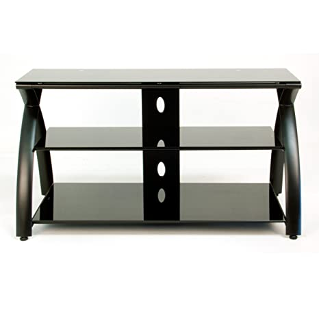 Futura TV Stand - Black and Black Glass