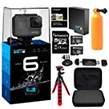 GoPro HERO6 Black w/Free Extra GoPro Battery, Lexar Action Camera Case, Flexible Tripod, Polaroid 8GB and 16GB MicroSD cards and Accessory Bundle