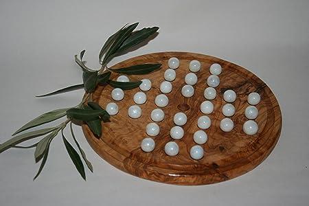 """Solitaire en bois d'olivier et ses billes """"blanc opaque"""""""