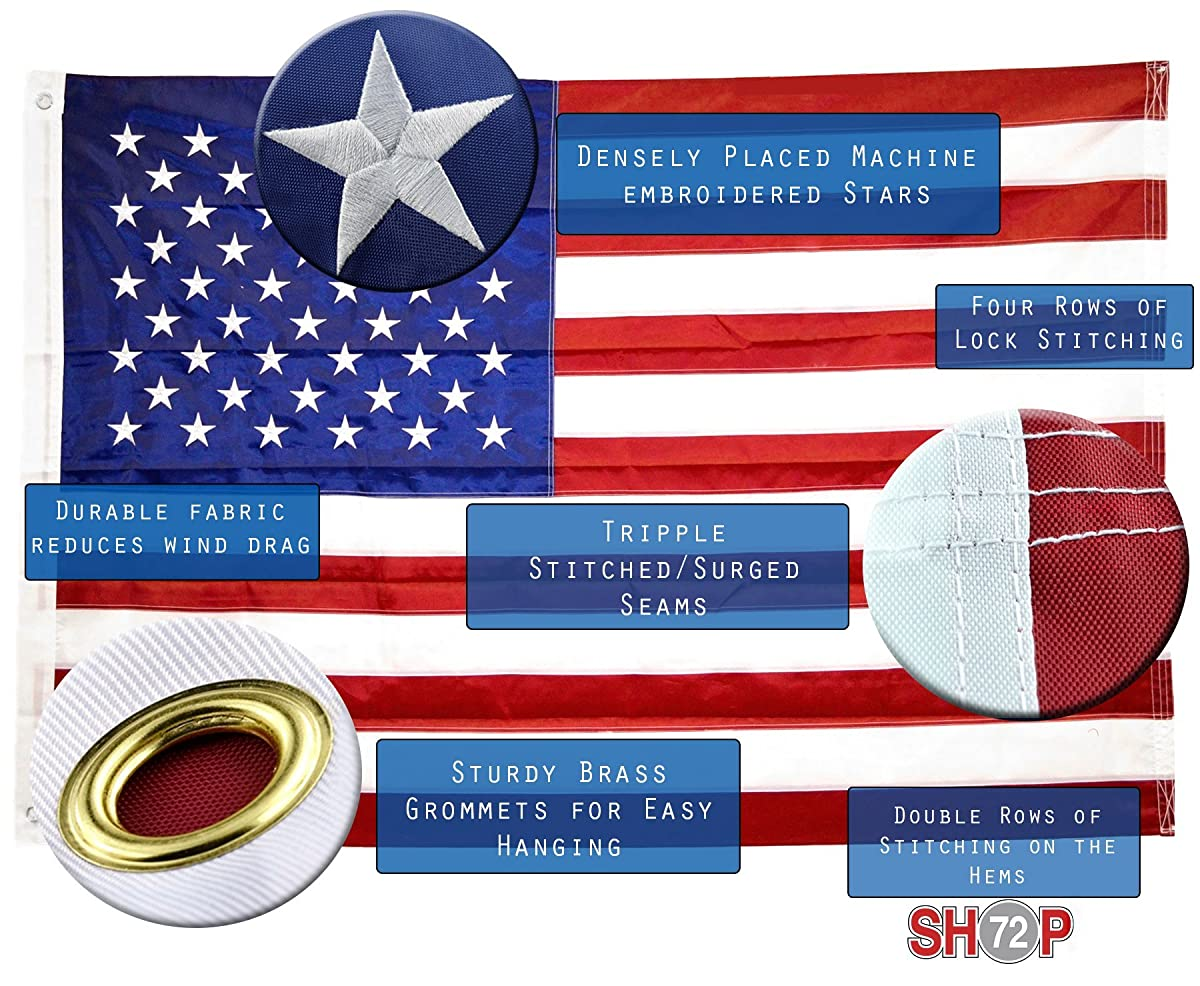 Shop72- U.S. Nylon Flag American Flag USA Flag 3 x 5 - 210D Oxford Embroidered Stars Sewn Stripes Canvas Header Brass Grommet Wind Side Double Stitch