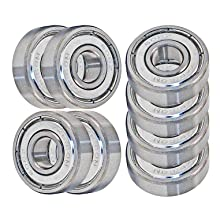 VXB 608 ZZ Skateboard Bearings, Double Shielded, Silver (Pack of 8)