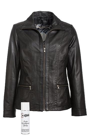 Modische Lederjacke von David Moore mit klarer Schnitfuhrung, eine tolle Jacke aus echtem Leder mit Original Leder-Wagner Spray