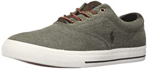 Polo Ralph Lauren Men's Vaughn Fleece Fashion Sneaker, Moss Heather, 8.5 D US