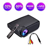 ImagePro Mini Portable LED Projector,High Brightness,HD 1080P 176 inch Large Display,Ultra Thin,Indoor/Outdoor,for Home Theater,Video Games,HDMI,USB,SD Card,AV,Xbox,VGA (Color: black)