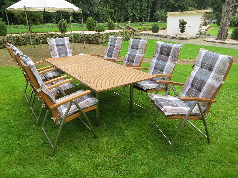 17-teilige Luxus Edelstahl Akazien Gartenmöbelgruppe