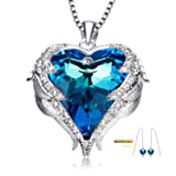 Blue Heart Crystal Pendant Necklace Birthday Anniversary Gifts for Women Wife Girlfriend Teen Girls Swarovski Necklace