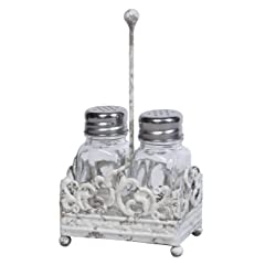 Creative Co-op Cottage Chic Metal Salt and Pepper Shaker Caddy with Glass Shaker 7.5-Inch