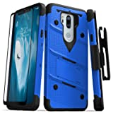 Zizo Bolt Series Compatible with LG G7 ThinQ Case Military Grade Drop Tested with Tempered Glass Screen Protector, Holster, Kickstand Blue Black (Color: Blue/Black)