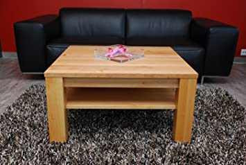 Couchtisch-Tisch 90x90 cm mit Ablage / Erle / Echtholz / Massivholz / Höhe 42 cm