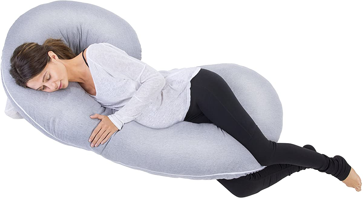 PharMeDoc Total Body Pillow with Jersey Cover - The Worlds Most Comfortable Maternity / Pregnancy Cushion - With Zipper - Full Contoured Snuggle Support System