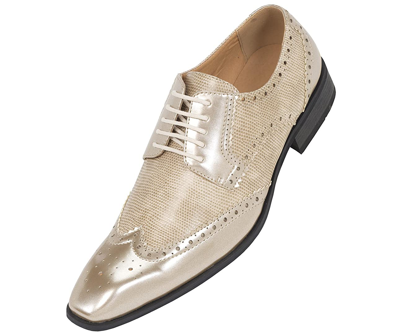 Amali Mens Two-Toned Metallic Antique Gold Classic Dress Shoe with Wing-Tip and Perforated Detailing: Style 7800 Metallic Antique Gold-035 0