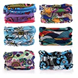 Headwear - 6PCS Scarf Bandanna Headband Yoga Sports Headband,Head Wrap,Balaclava Multifunctional Stretchable Sport Face Mask (Color: 6*Floral 3, Tamaño: One Size)