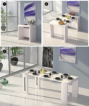 Table de salle à manger extensible 4-en-1 Style moderne 100% fabriquée en Italie Console multifonctions Tables extensibles contemporaines