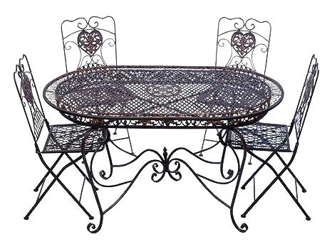 Garnitur Gartentisch 4 Stuhle braun Eisen Gartenmöbel Stuhl Antikstil Nostalgie