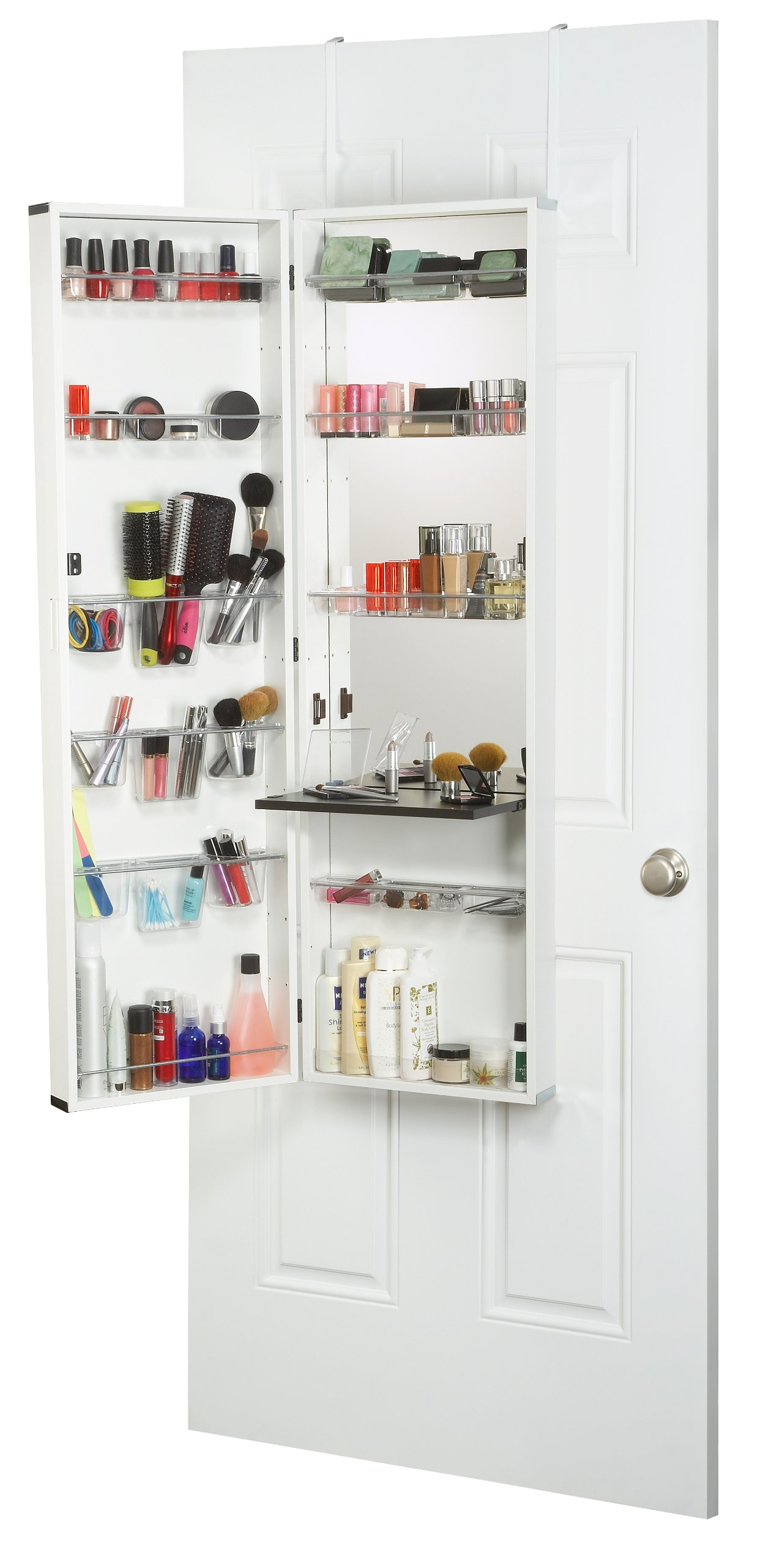 Mirrotek Beauty Armoire Makeup Organizer With Vanity Table White Finish Frame Ebay